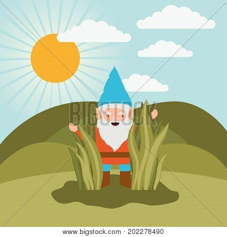 gnome fantastic character coming out of the bushes in mountain landscape background vector illustration