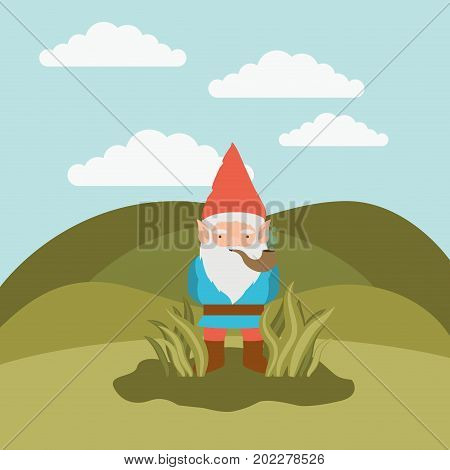 gnome fantastic character coming out of the bushes with smoking pipe in mountain landscape background vector illustration