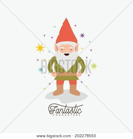 gnome fantastic character with costume and colorful sparks and stars on white background vector illustration