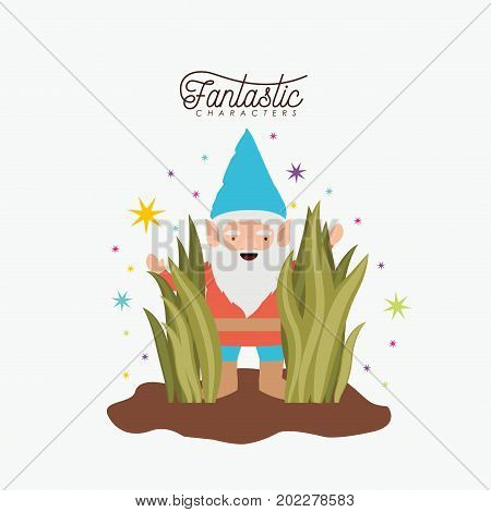 gnome fantastic character coming out of the bushes with costume and colorful sparks and stars on white background vector illustration