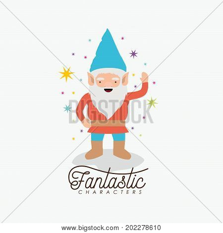 gnome fantastic character greeting expression with costume and colorful sparks and stars on white background vector illustration