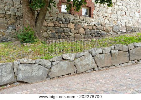 Fragment of fortress of Lappeenranta is a system of bastion fortifications in old city of Lappeenranta Finland.