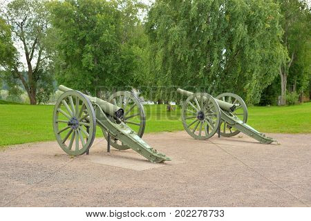 Antique cannon in Lappeenranta at summer Finland.