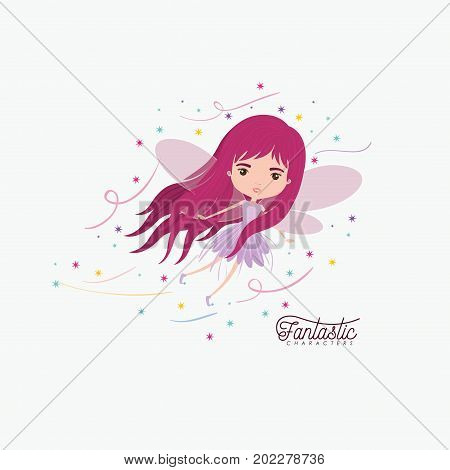 girly fairy fantastic character flying with wings and colorful sparks and stars on white background vector illustration