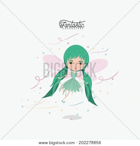 girly fairy fantastic character flying with wings and pigtails hairstyle colorful sparks and stars on white background vector illustration