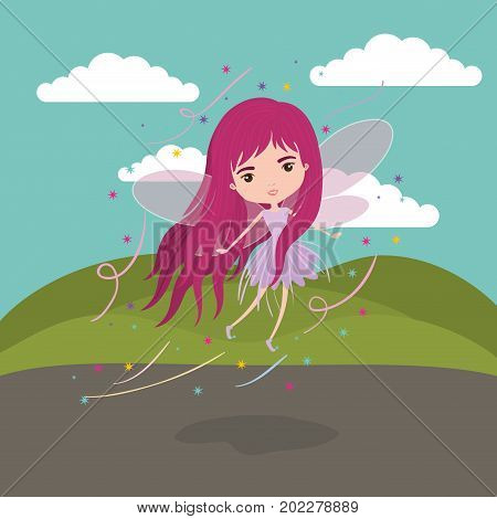 girly fairy fantastic character flying with wings in mountain landscape background vector illustration