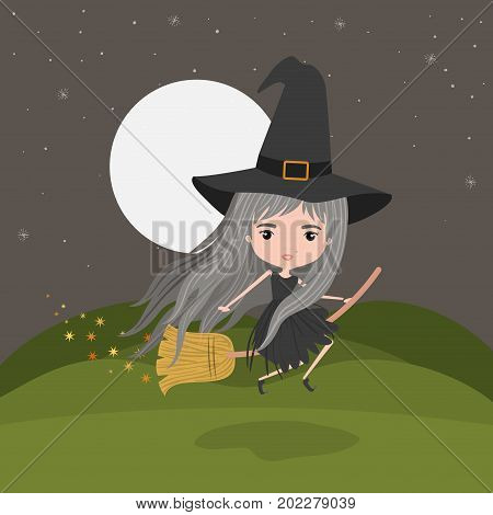 cute witch fantastic character flying with broom in mountain night landscape background vector illustration