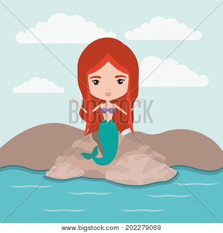 mermaid fantastic character in a rock sea landscape background vector illustration