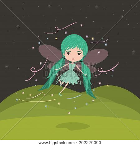 girly fairy fantastic character flying with wings and pigtails in night mountain landscape background vector illustration