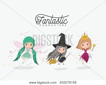 girly fantastic character set of princess fairy and witch on white background vector illustration