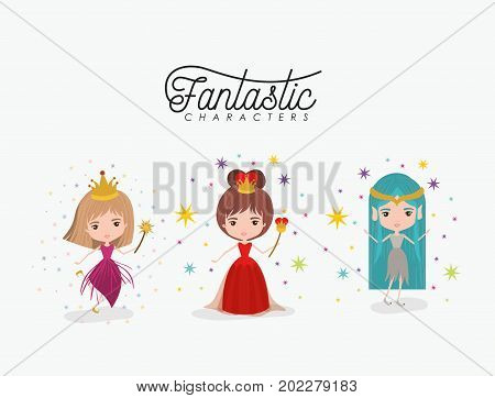 girly fantastic character set of queen fairy and elf princess on white background vector illustration