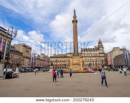 GLASGOW, SCOTLAND - JULY 20: Beautiful George Square on July 20, 2017 in Glasgow, Scotland. George Square is the principal civic square in the city of Glasgow. It is named after King George III.