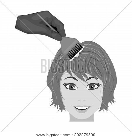 Staining of female hair in a hairdresser. Hair dyeing single icon in monochrome style vector symbol stock illustration .