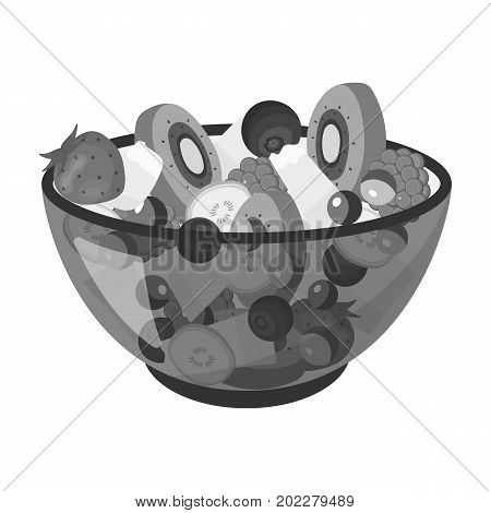 Salad from various kinds of fruit. Fruit single icon in monochrome style vector symbol stock illustration .