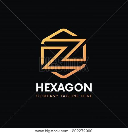 Luxury Z Letter Linear Logo Hexagon Icon Sign Vintage Design.