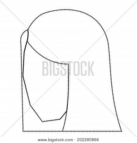 woman head faceless with straight long hair monochrome silhouette dotted vector illustration