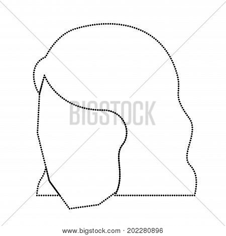 woman head faceless with short hairstyle monochrome silhouette dotted vector illustration