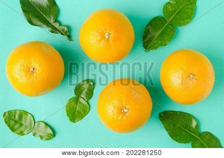Navel oranges fruit on green background, healthy fruit