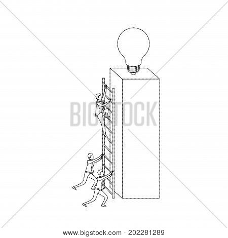 businessmen climbing wooden stairs in a big rectangular block with light bulb in the top monochrome silhouette dotted vector illustration