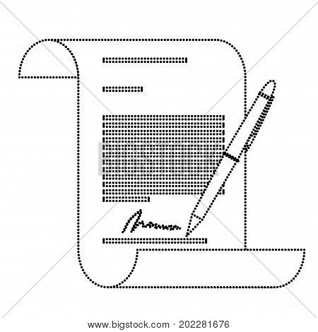 continuously sheet contract document firm and pen monochrome silhouette dotted vector illustration