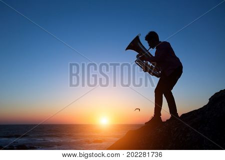 Silhouette of musician play Tuba on sea shore at amazing sunset .