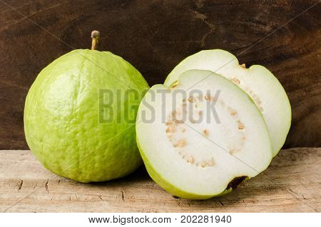 Guava fruit on wooden background, High Vitamin C fruit