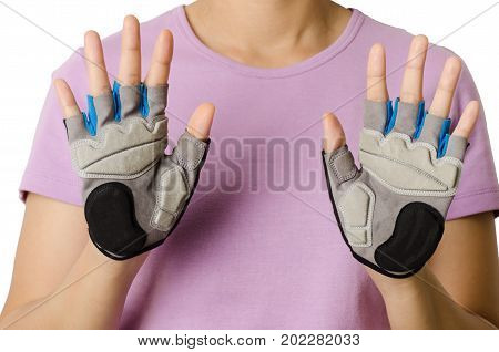 Woman wearing bicycle gloves for cycling, protection and safe