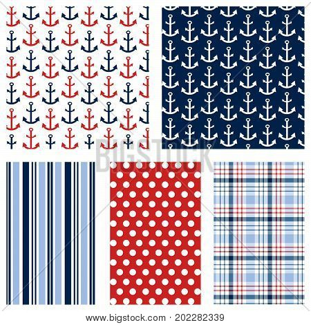 Anchor prints with coordinating stripe, polka dot and plaid pattern. Seamless patterns for digital paper, scrapbooking, invitations, announcements, cards, gift wrap, backgrounds, borders, and more.