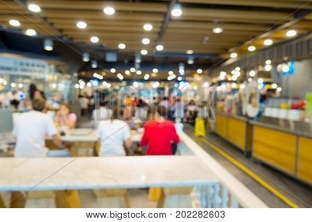 Abstract blurred in department food court. Abstract background Business concept.
