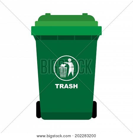 Green Trash with man throw out the thrash icon isolated on white background flat design style-Vector Illustration