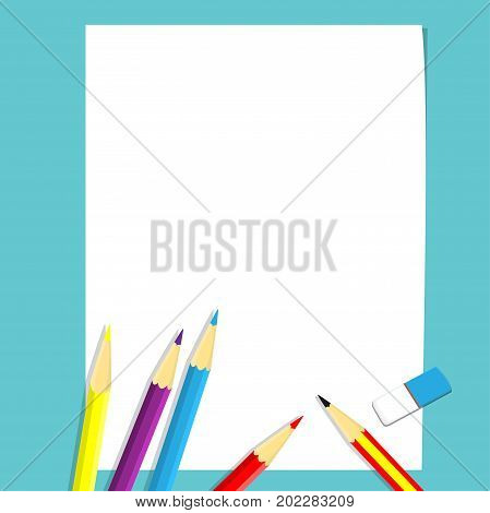 Illustration of Art class concept pencil pencil colors and eraser on white blank paper for Education Concept-Vector Illustration