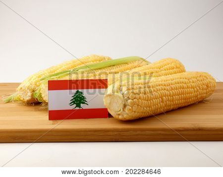 Lebanese Flag On A Wooden Panel With Corn Isolated On A White Background