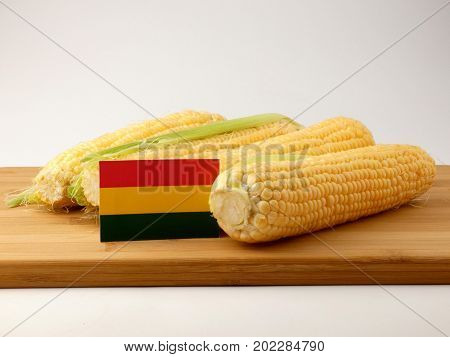 Bolivian Flag On A Wooden Panel With Corn Isolated On A White Background