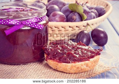 Vintage Photo, Fresh Prepared Sandwiches With Plum Marmalade Or Jam, Healthy Sweet Snack Or Breakfas