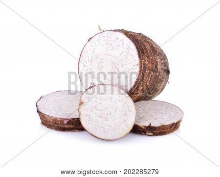 sliced raw taro on a white background