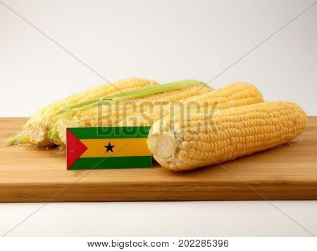 Sao Tome And Principe Flag On A Wooden Panel With Corn Isolated On A White Background
