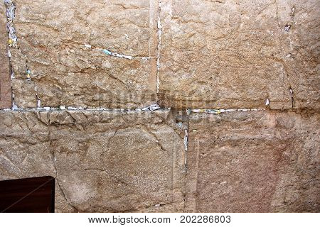 Letter to the Almighty in the Wailing Wall in the Old City of Jerusalem