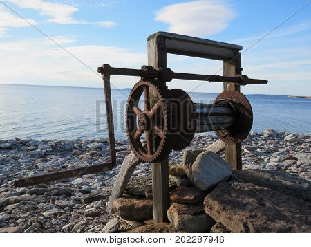 Boat landing pulley on the Baltic Sea,