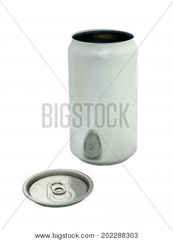 Empty Beer Can Isolated on White Background