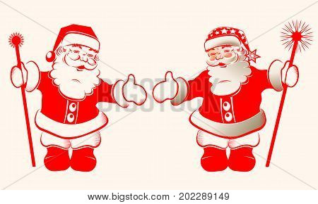 Christmas silhouette of Santa Claus red with arms and staff, set