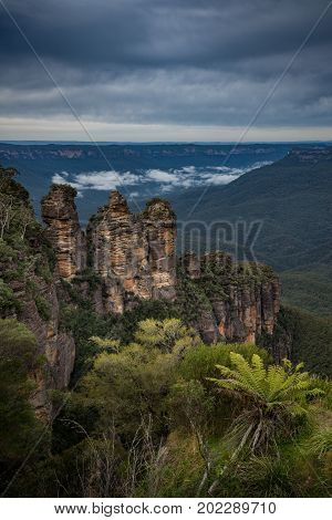 Scenery view of Three sister rock the spectacular landscape of Blue mountains, Australia.