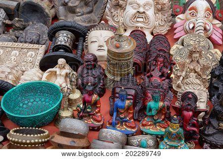 Souvenirs, Statuettes, Figurines And Handicraft At Flea Market, Kathmandu, Nepal