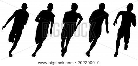 set athletics runners sprinters running black silhouettes