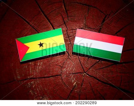 Sao Tome And Principe Flag With Hungarian Flag On A Tree Stump Isolated