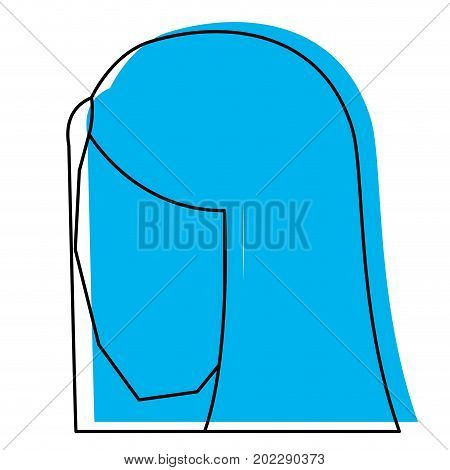 woman head faceless with straight long hair blue watercolor silhouette vector illustration