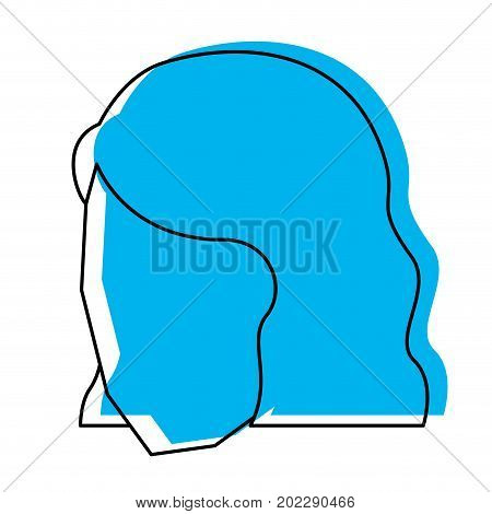 woman head faceless with short hairstyle blue watercolor silhouette vector illustration