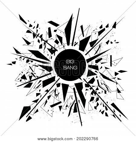 Abstract modern vector explosion banner. Black triangles, polygons, lines, points, Big bang concept.