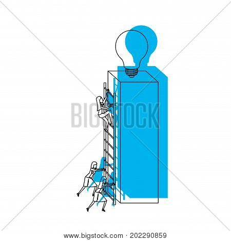 businesswomen climbing wooden stairs in a big rectangular block with light bulb in the top blue watercolor silhouette vector illustration