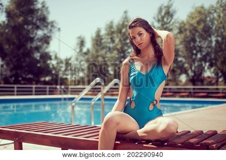 One Young Adult Woman Caucasian Model Posing, Sitting Sunlounger, Outdoors, Hot Sunny Day, Swimming