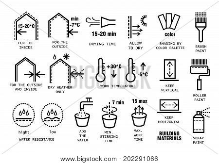 Vector set of thin line icons for packing finishing materials in construction. Instruction for storage, rules of use.